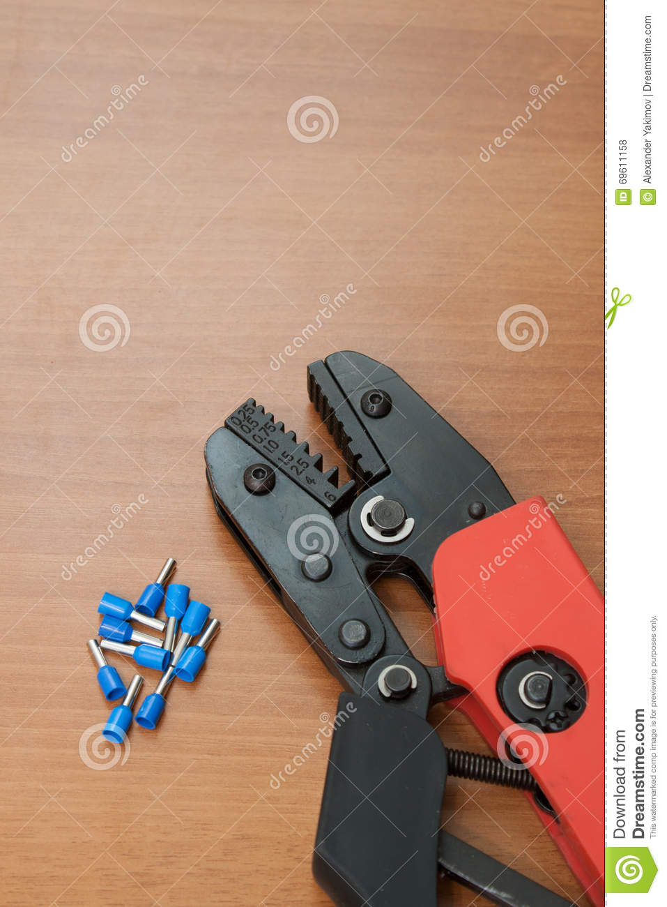 Installation Tool Crimp Terminals For The Cable Stock Photo Wiring Connectors Set Of Press Crimping Pliers Insulated And