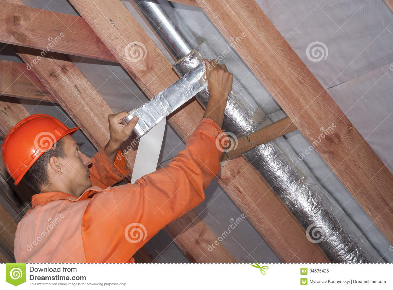Installation Of Ventilation Systems Stock Photo Image 94635425