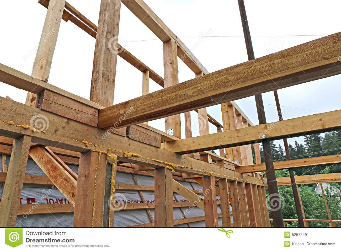 Wood Beam Construction ~ Installation of wooden beams at construction the roof