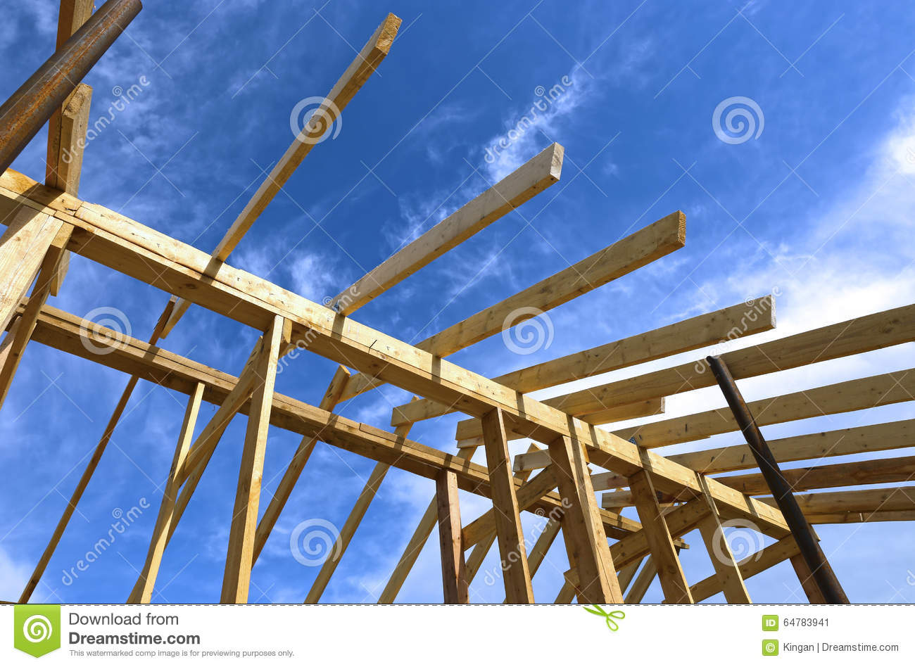 Installation Of Wooden Beams At Construction Royalty Free