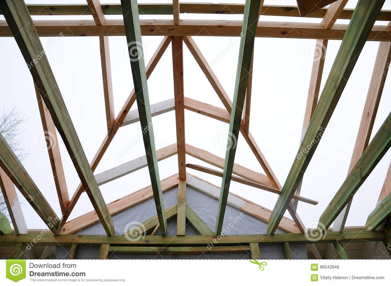 Installation Of Wooden Beams At Construction The Roof Truss System ...