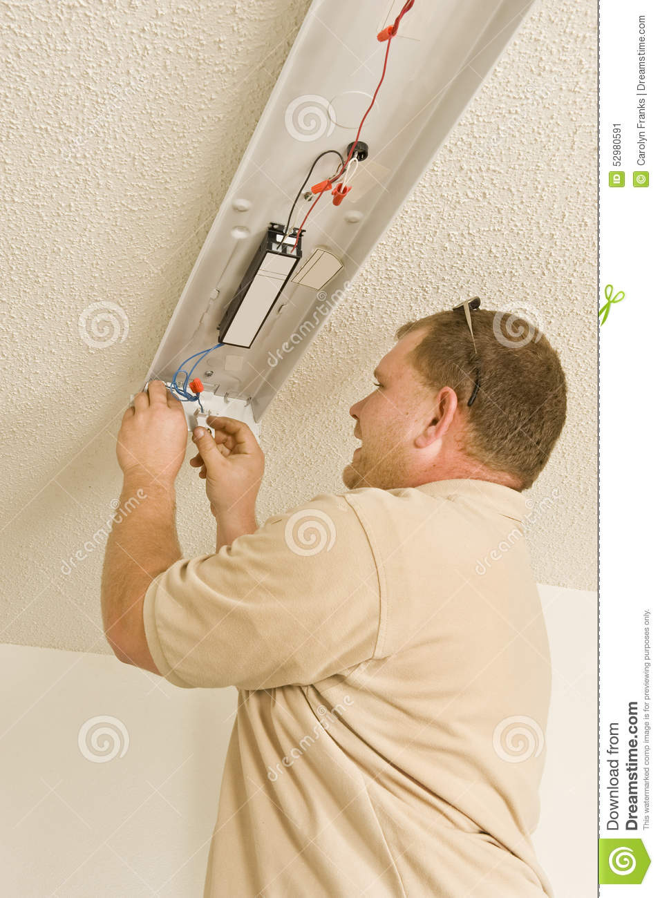 Installing Ballast In Fluorescent Light Fixture Stock Image Wiring