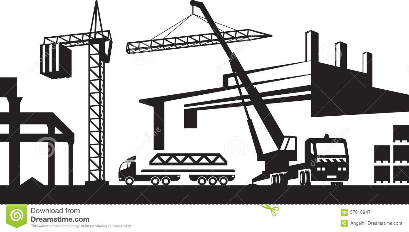 Installing Crane On Construction Site Stock Vector - Image ...