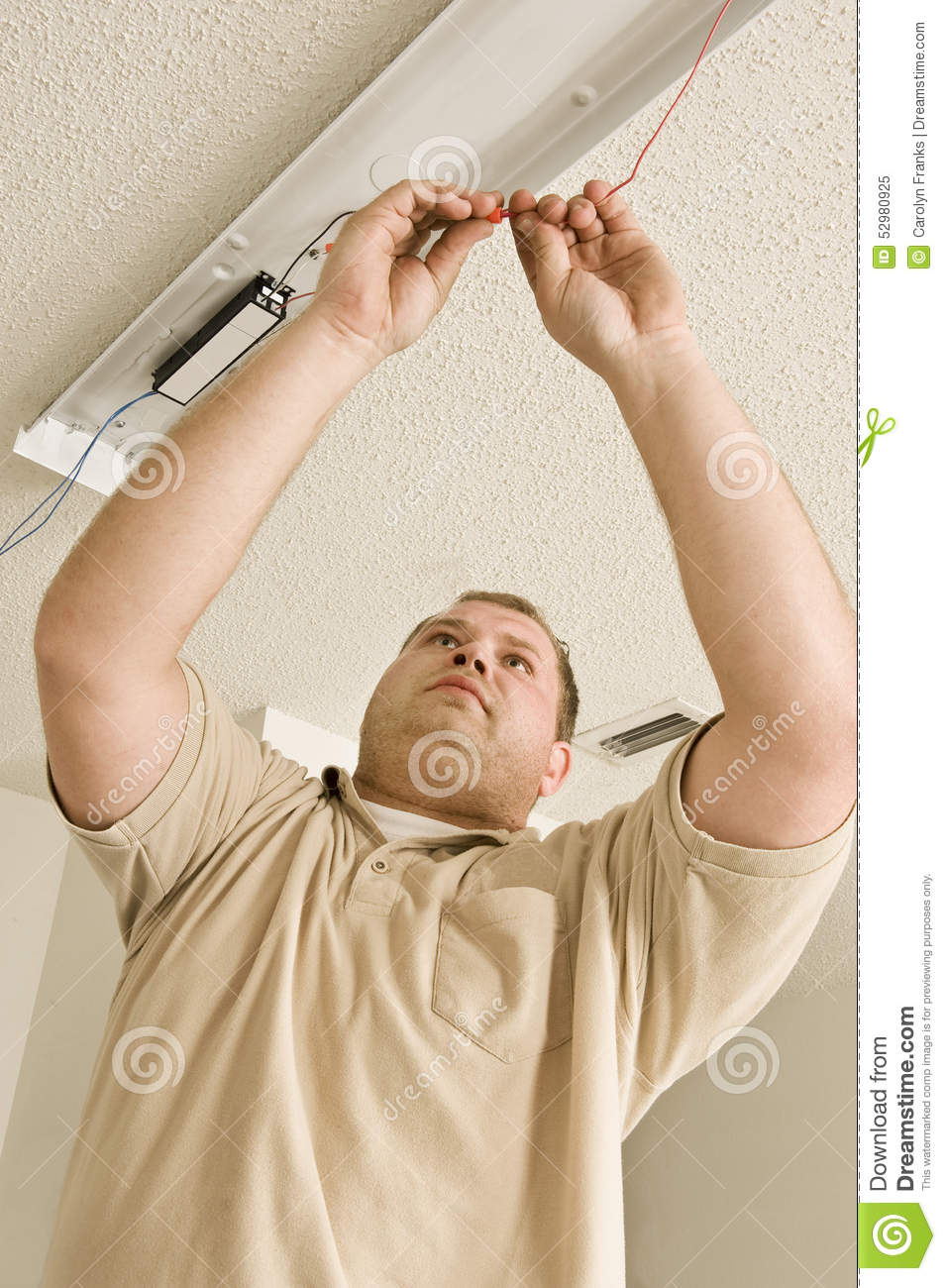 Installing Fluorescent Light Fixture Stock Image - Image of males ...