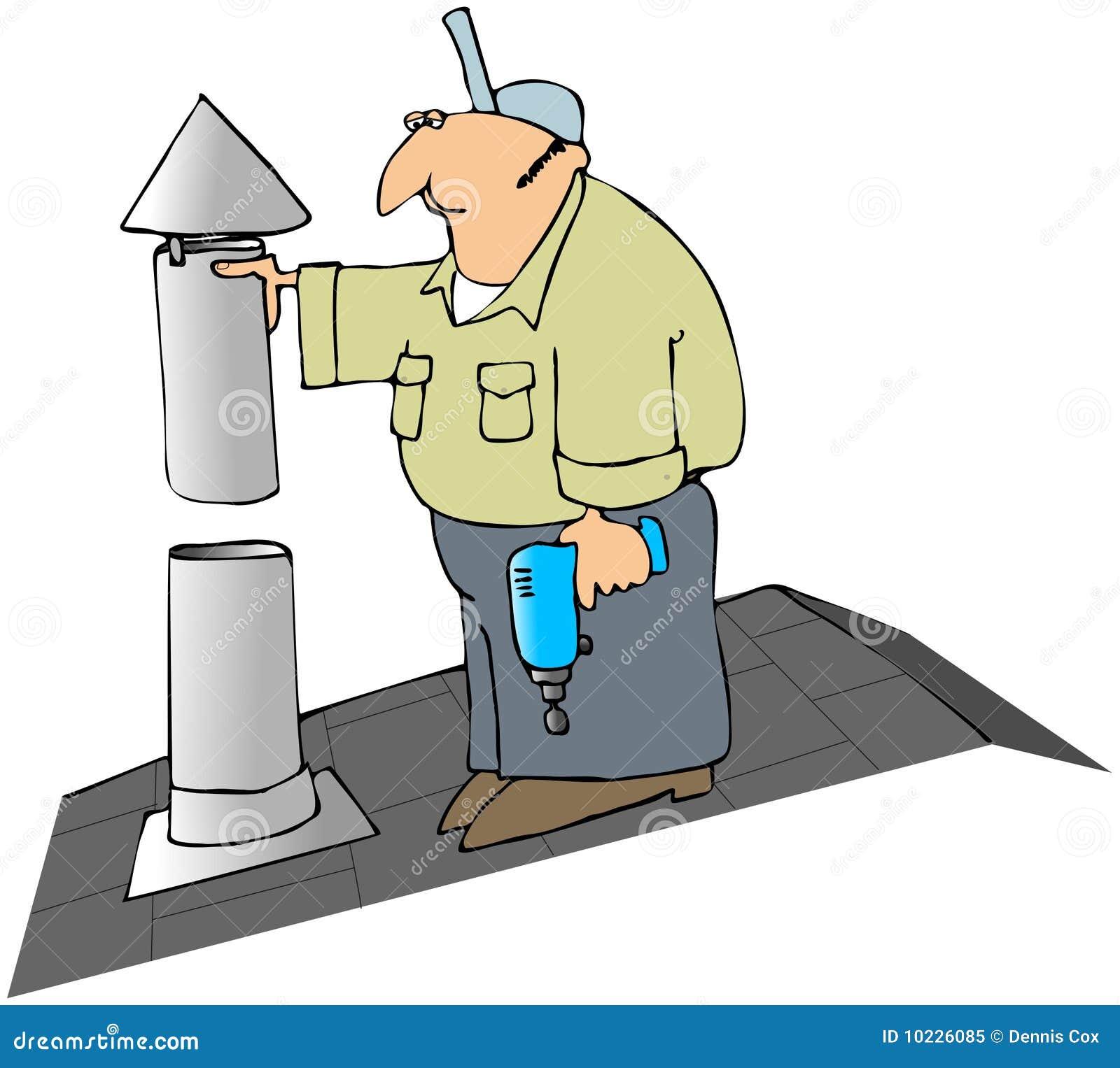 Cartoon Roofing Installation : Installing a furnace flue cap stock illustration image