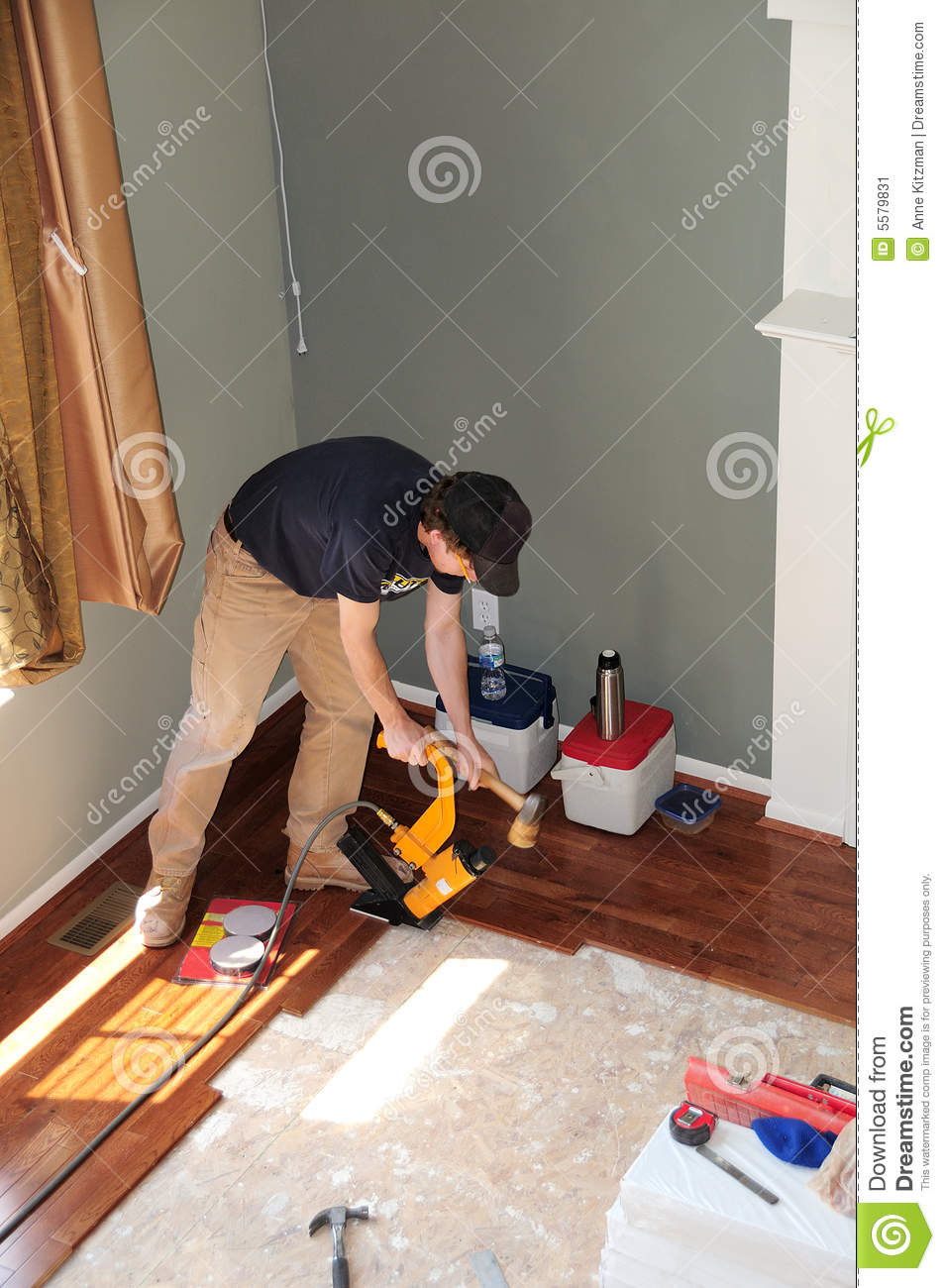 Installing A Hardwood Floor Construction Stock Image Of How To Lay