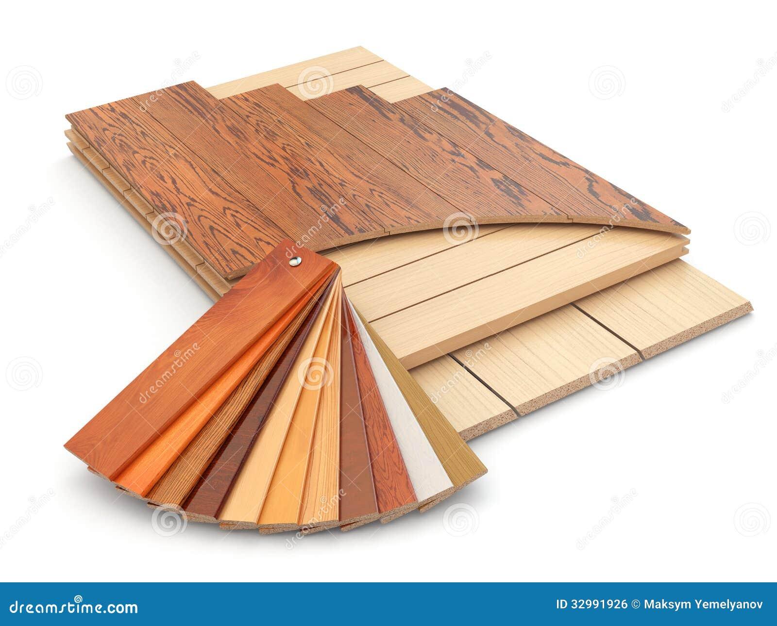 Installing Laminate Floor And Wood Samples Stock