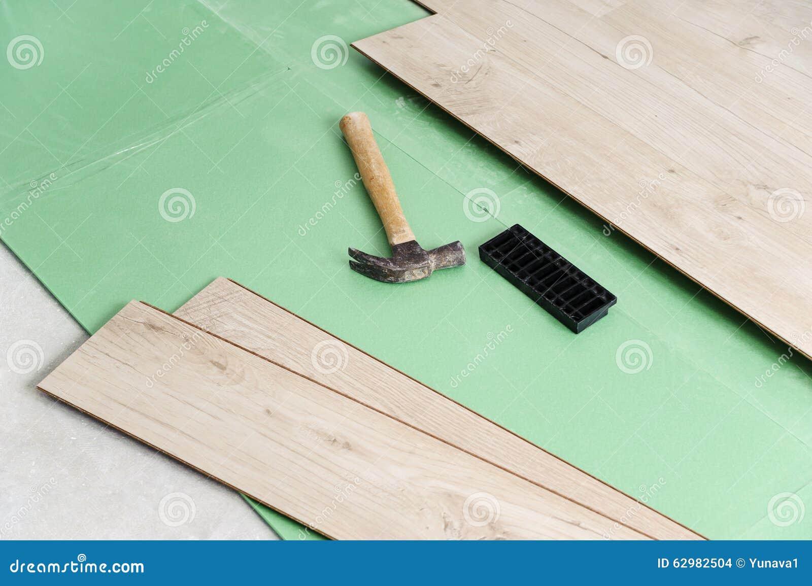Installing laminate flooring stock photo image 62982504 for Flooring tools