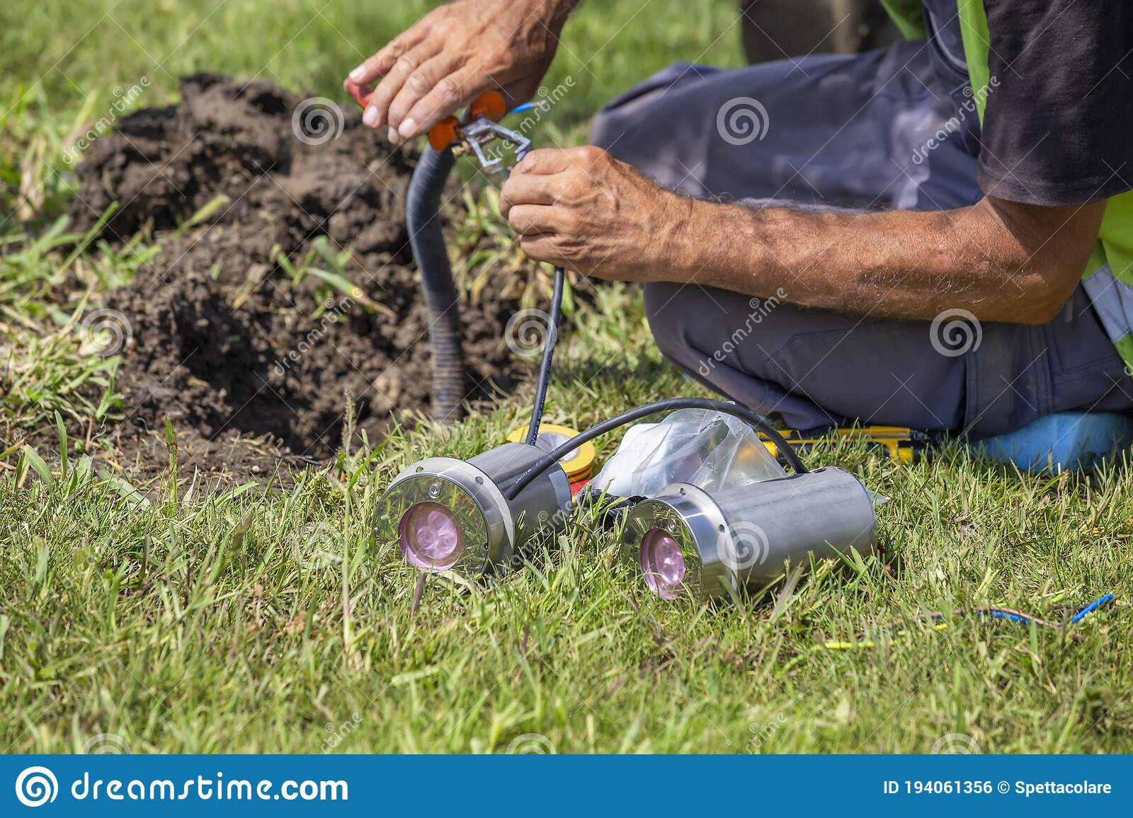 Installing Outdoor Ground Spots Lights Stock Photo Image Of Blue Energy 194061356