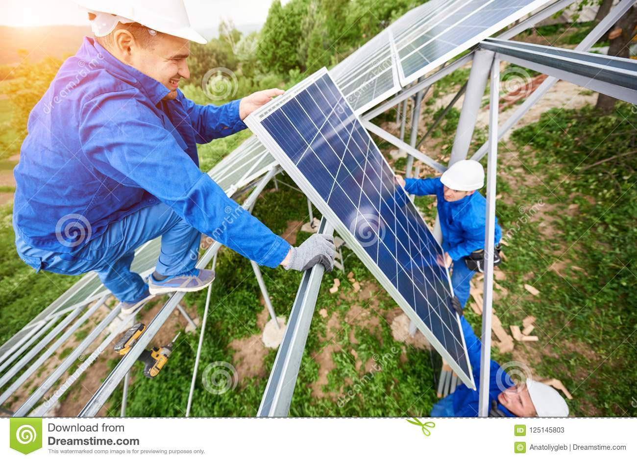 Installing Of Solar Photo Voltaic Panel System Stock Image - Image