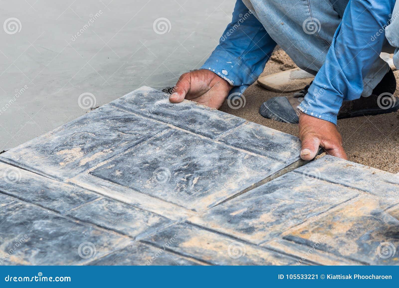 Installing Tiles Floor In Construction Work Stock Image - Image of ...