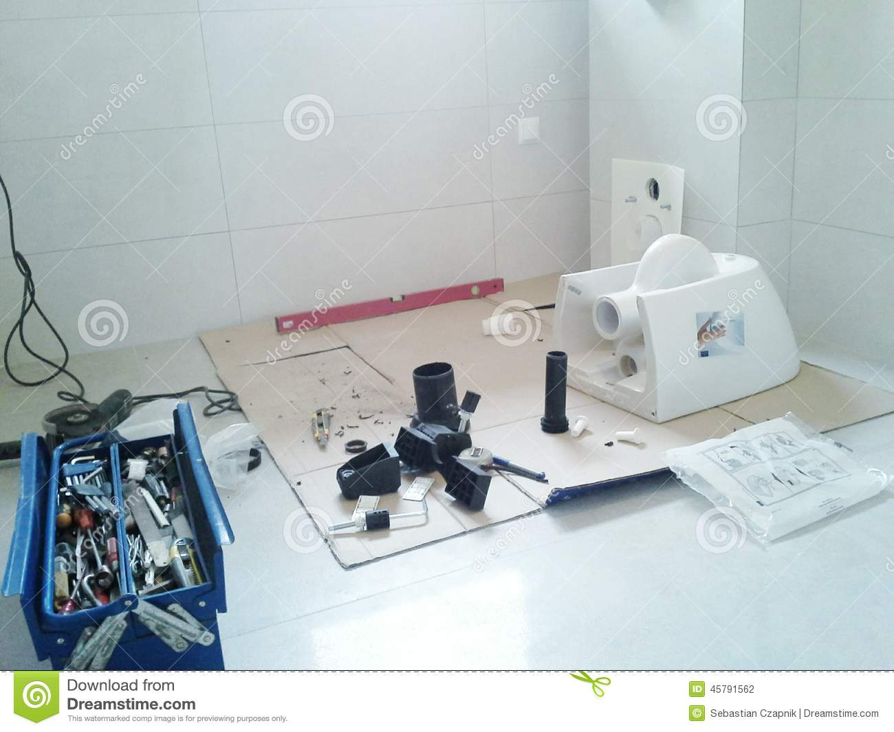 Installing A Toilet Stock Photo Image Of Blade Porcelain 45791562 How To Install Plumbing Diagram Help