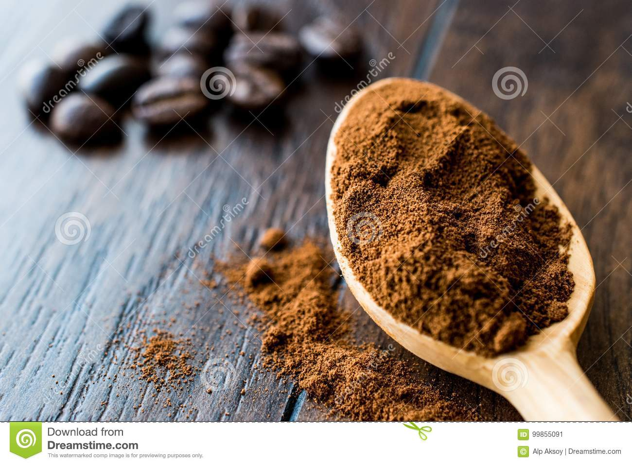 Instant Espresso Powder In Wooden Spoon Stock Image Image Of