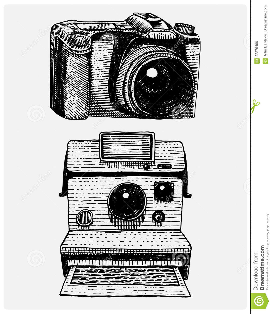 Instant And Modern Photo Camera Vintage Engraved Hand Drawn In