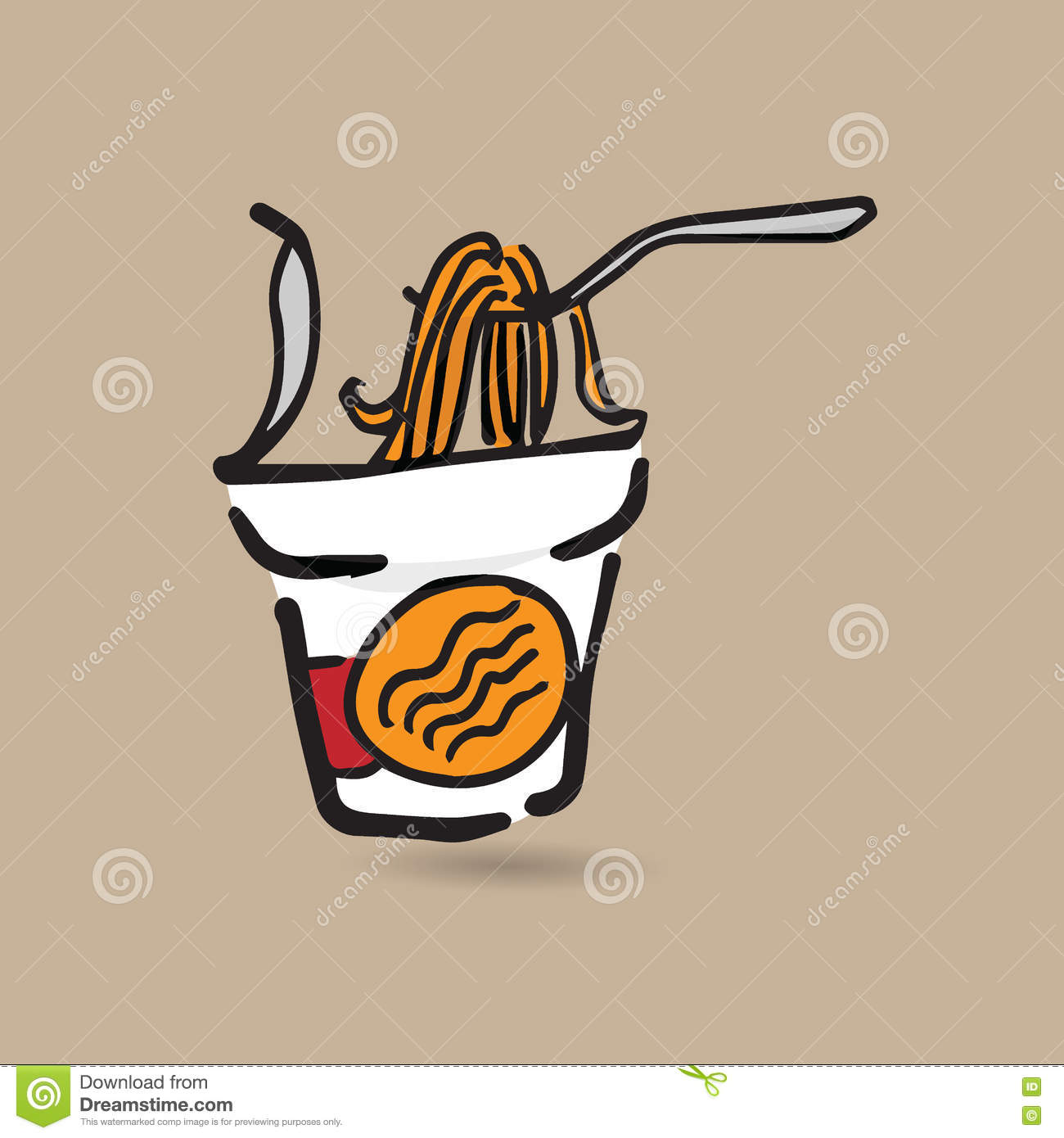 Drawingcolor Instant Noodle Cup Doodle Drawing Color Stock Vector Image 78134632