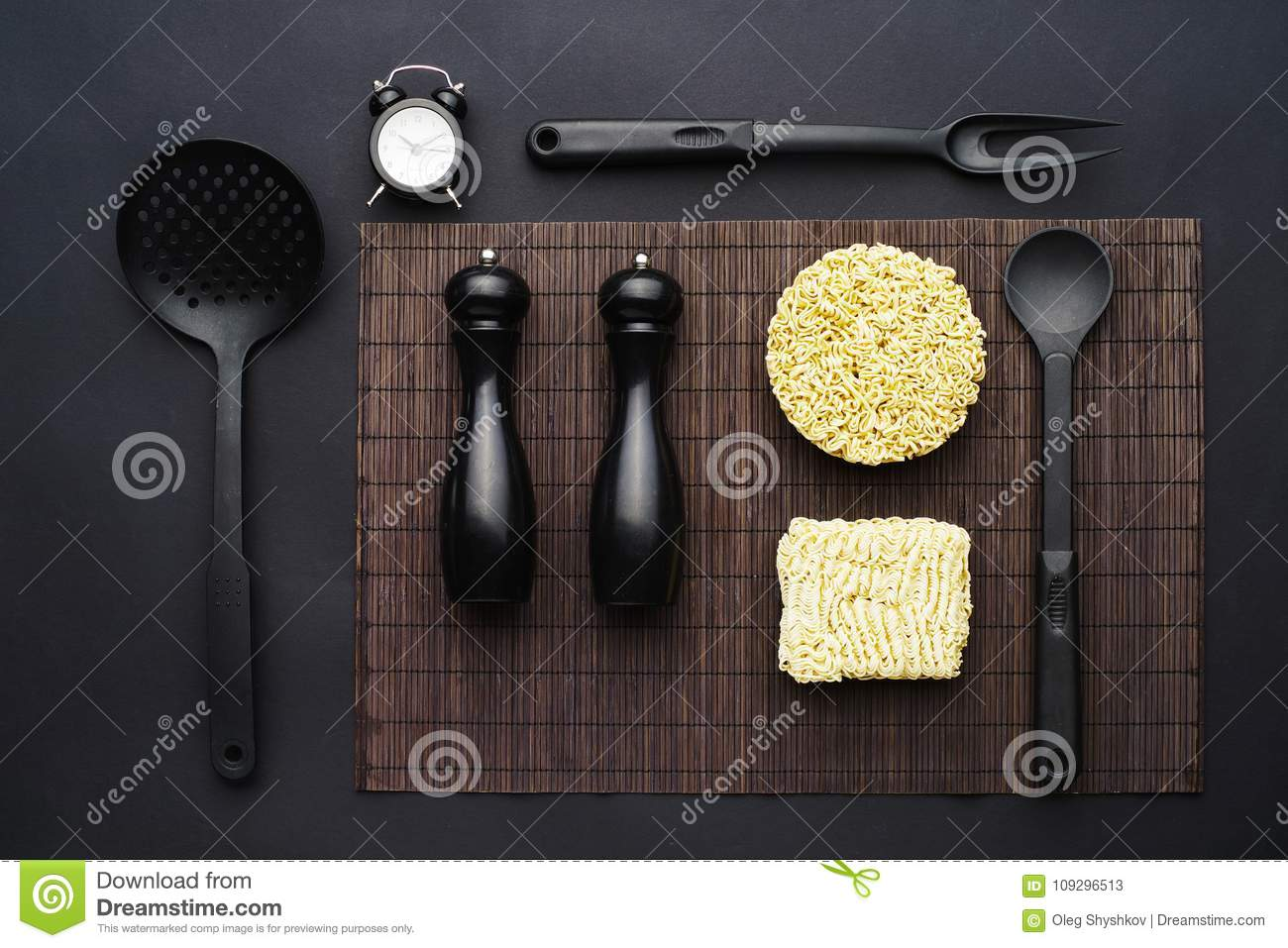Layout Of Kitchen Accessories And Instant Noodles On A Black Background Top View Stock Image Image Of Time Menu 109296513