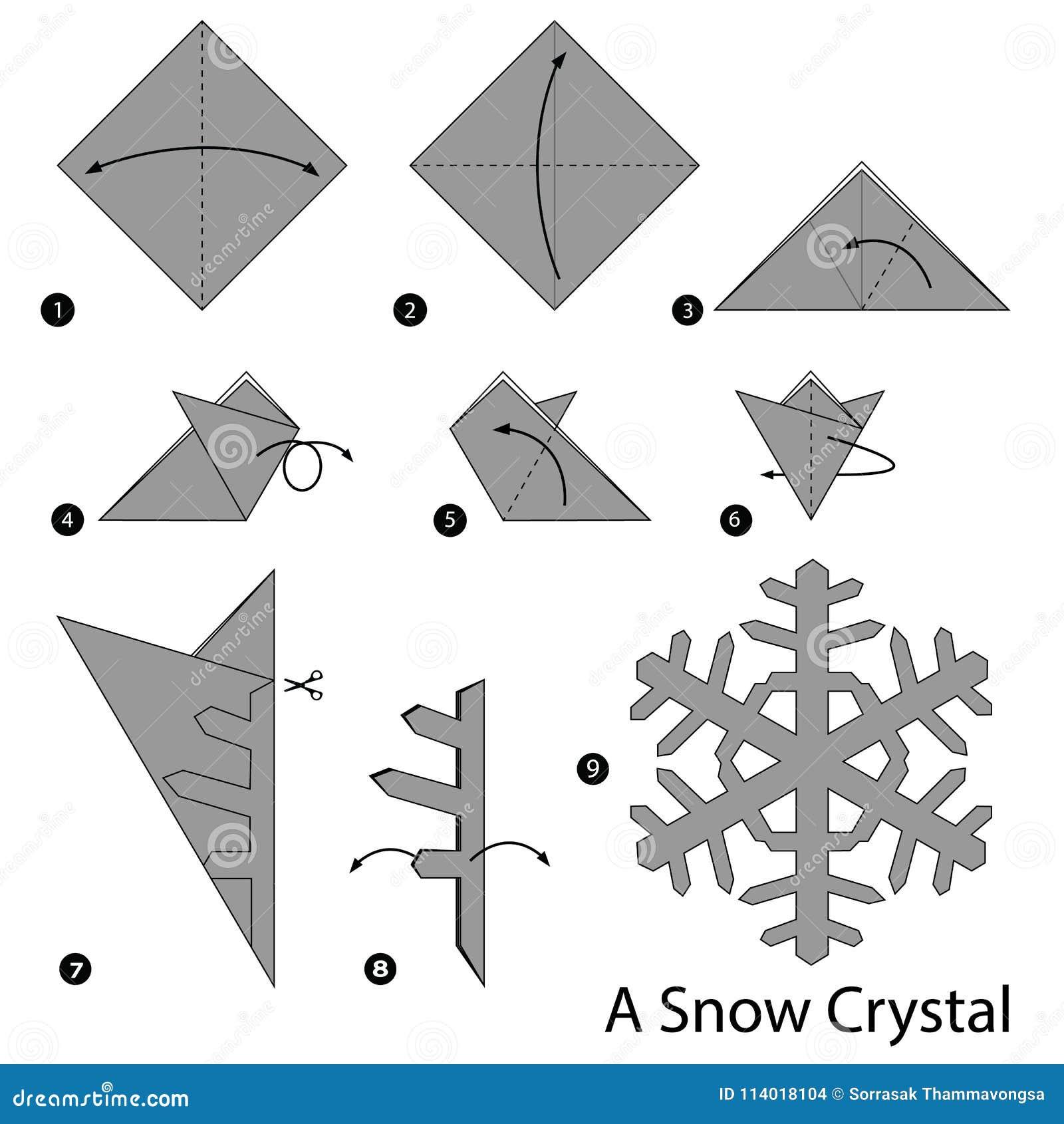 instru es passo a passo como fazer a orig mi um cristal da neve ilustra o do vetor. Black Bedroom Furniture Sets. Home Design Ideas