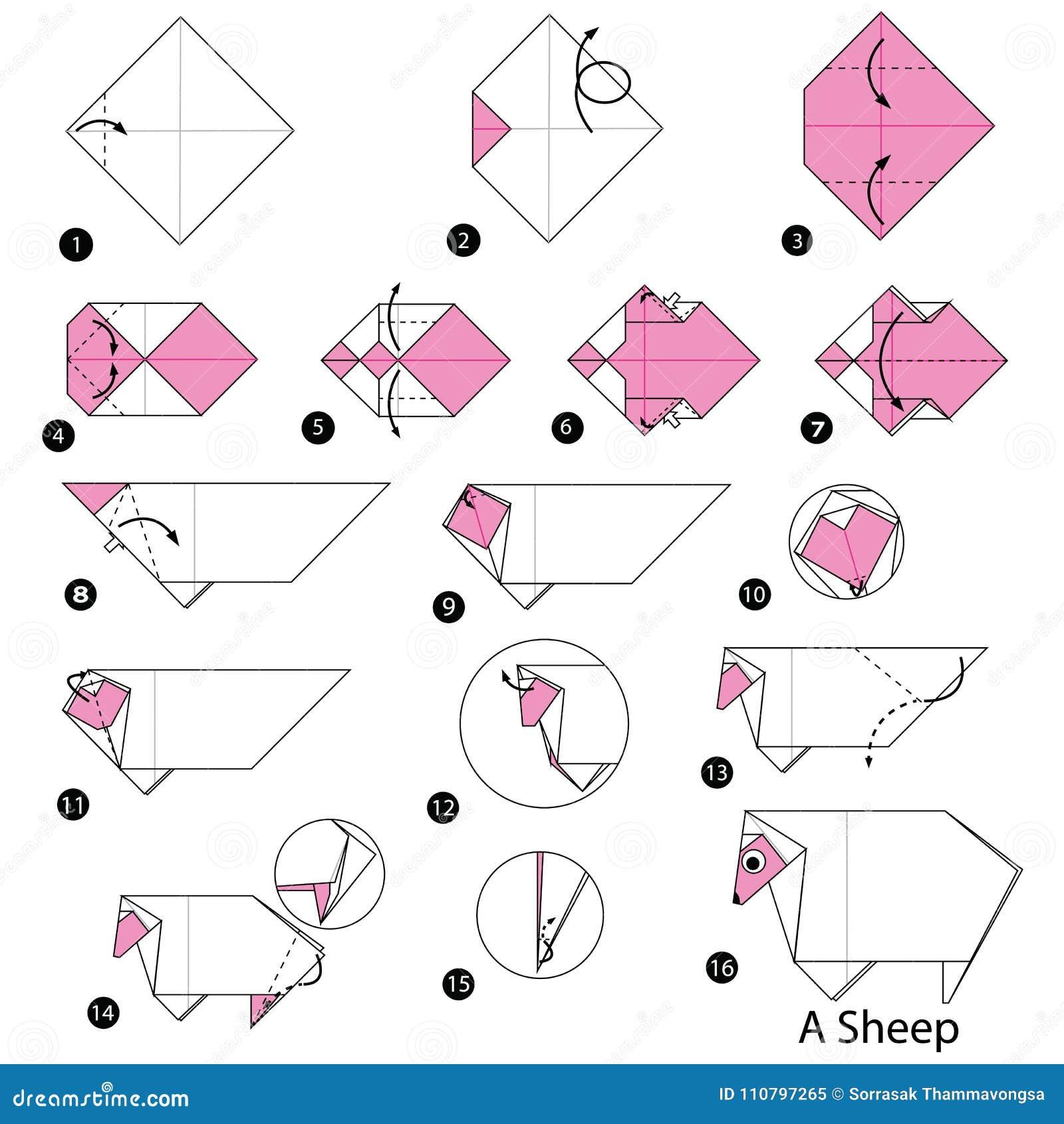 Instrucciones Paso A Paso Cómo Hacer Papiroflexia Una Oveja Ilustración Del Vector Ilustración De Vector Oriental 110797265
