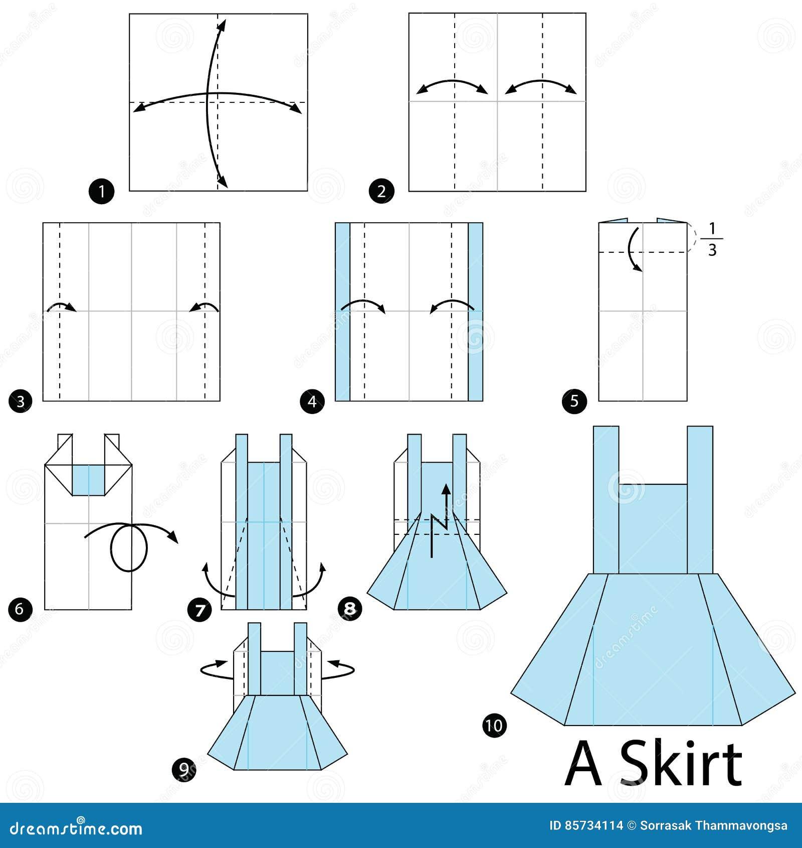 2bfef74fe Instrucciones Paso A Paso Cómo Hacer Papiroflexia Una Falda ...