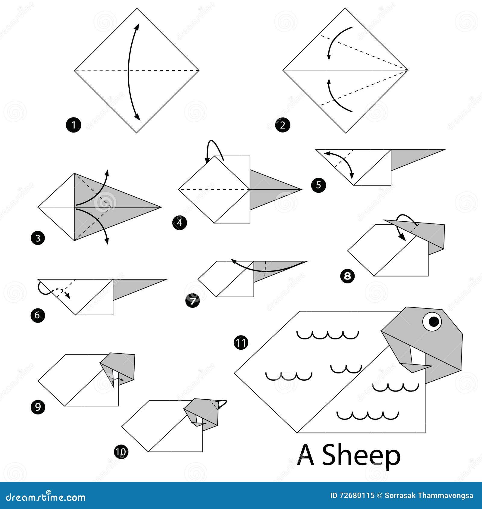 Instrucciones Paso A Paso Cómo Hacer Papiroflexia Una Oveja Ilustración Del Vector Ilustración De Tradicional Oriental 72680115