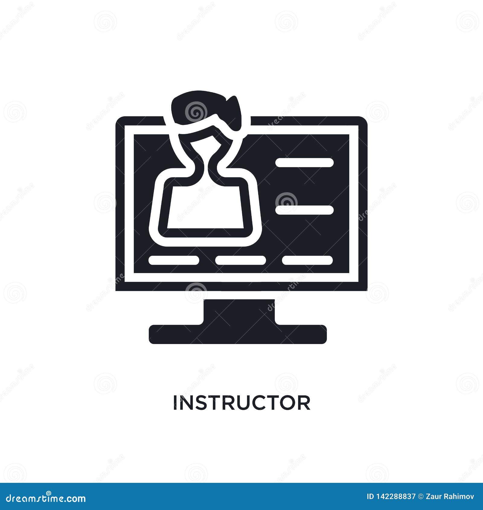Instructeur geïsoleerd pictogram eenvoudige elementenillustratie van e-lerend en onderwijs conceptenpictogrammen teken van het in