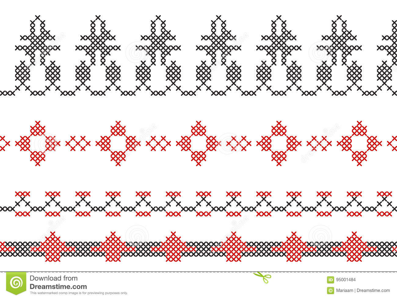 Instruction For Cross-stitch Borders Of Frames Stock Vector ...