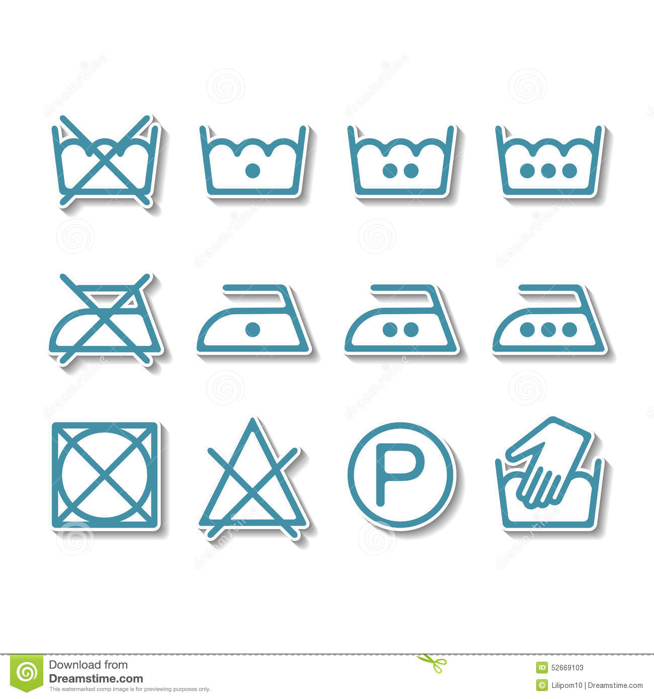 instruction laundry dry cleaning care icons washing symbols stock vector image 52669103. Black Bedroom Furniture Sets. Home Design Ideas