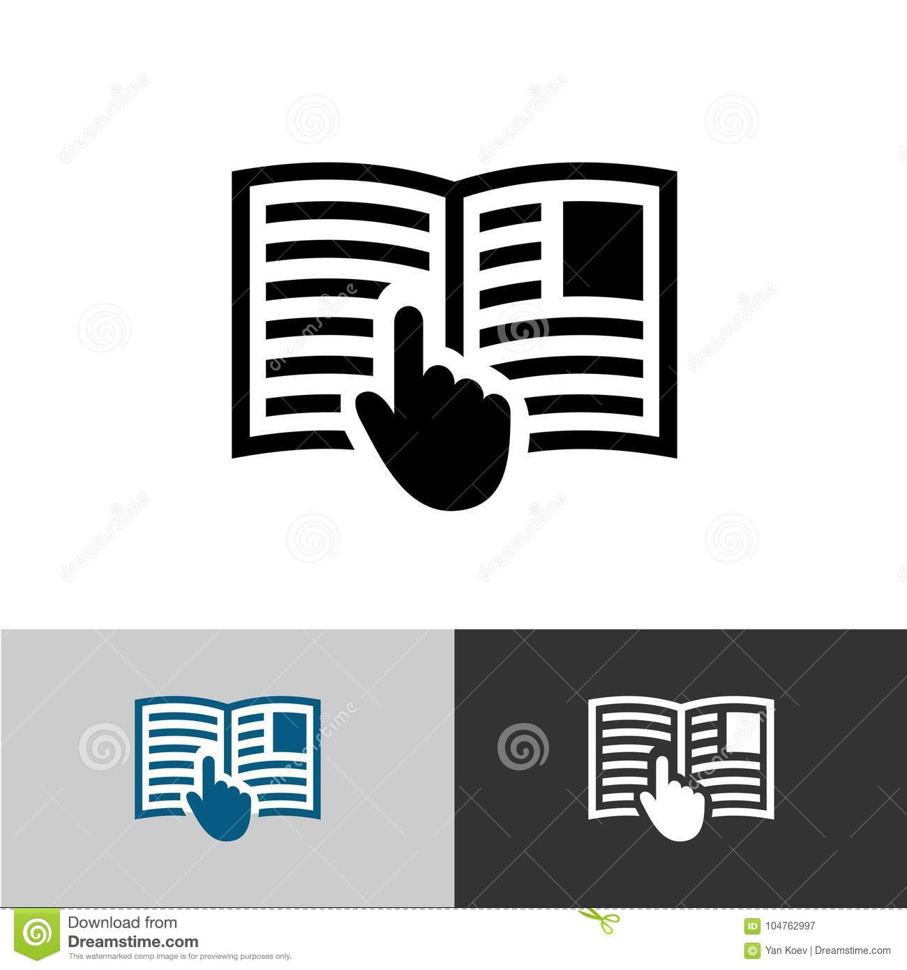 Instruction Manual Icon  Open Book Pages With Text  Stock