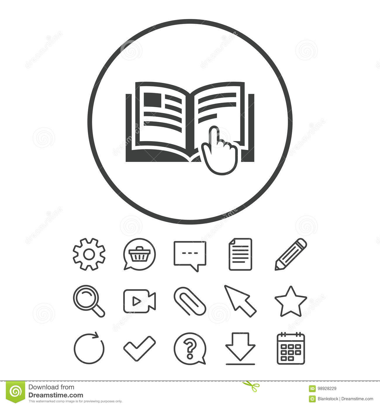 Instruction Sign Icon Manual Book Symbol Stock Vector