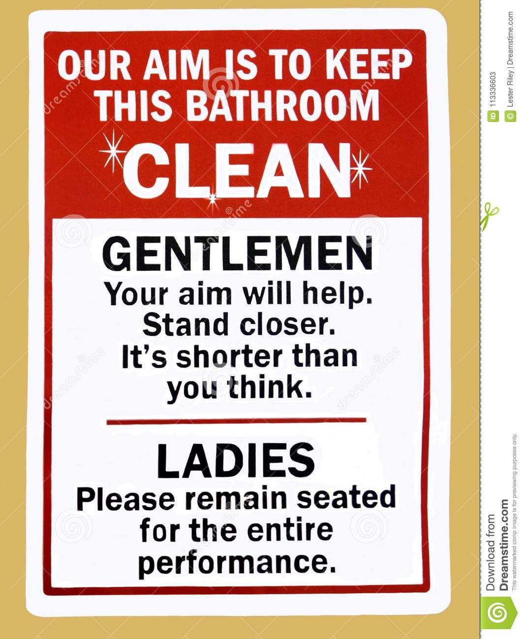 An Instruction Sign In A Public Toilet Advising How To Keep The ...