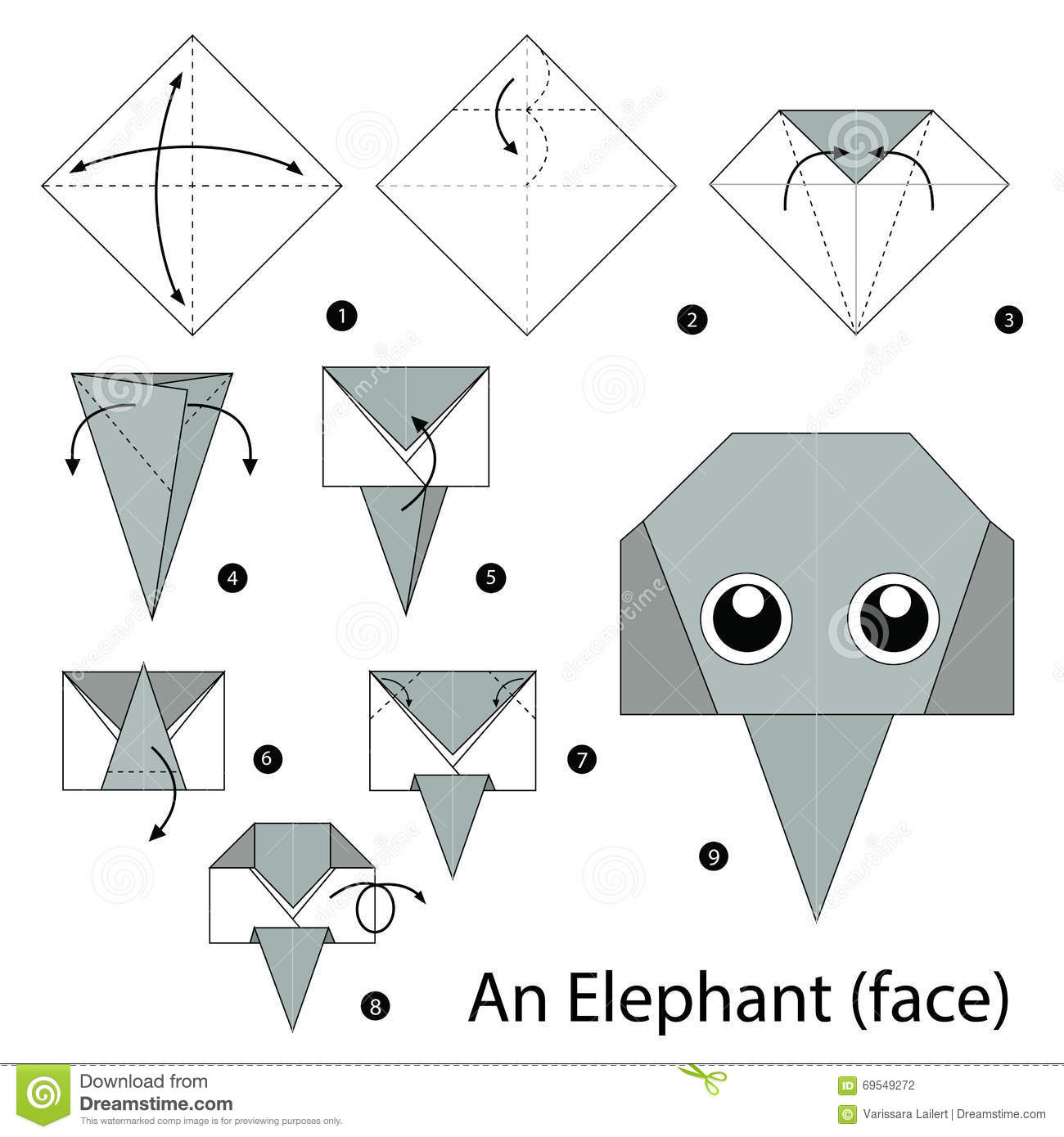 instructions tape par tape comment faire origami un l phant illustration de vecteur. Black Bedroom Furniture Sets. Home Design Ideas