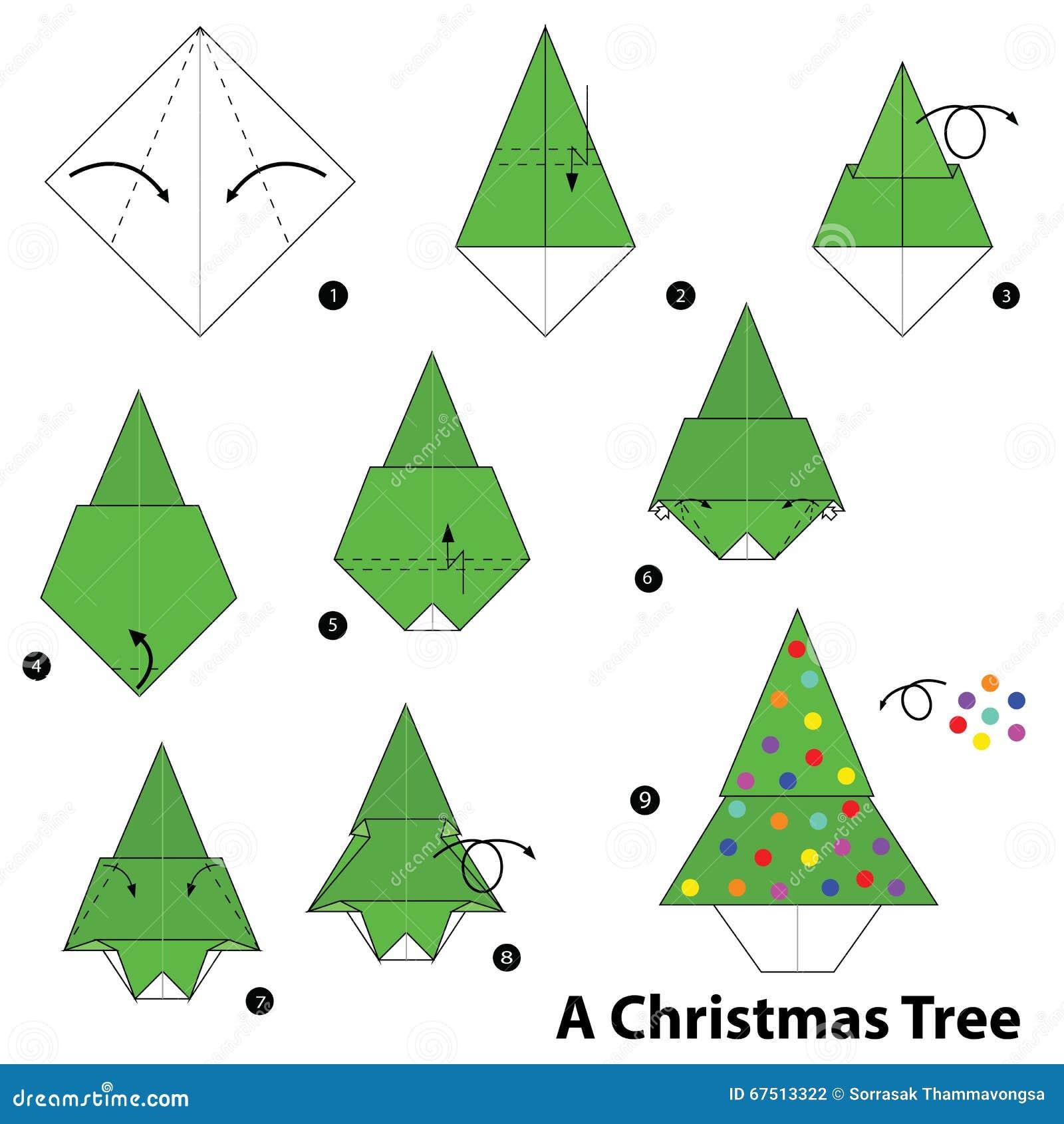 instructions tape par tape comment faire origami un arbre de no l illustration de vecteur. Black Bedroom Furniture Sets. Home Design Ideas