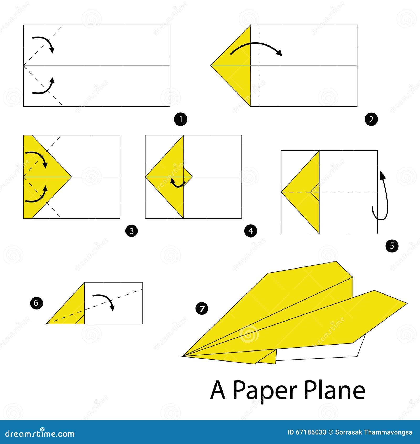 Instructions tape par tape comment faire origami un avion illustration de - Comment faire l origami ...