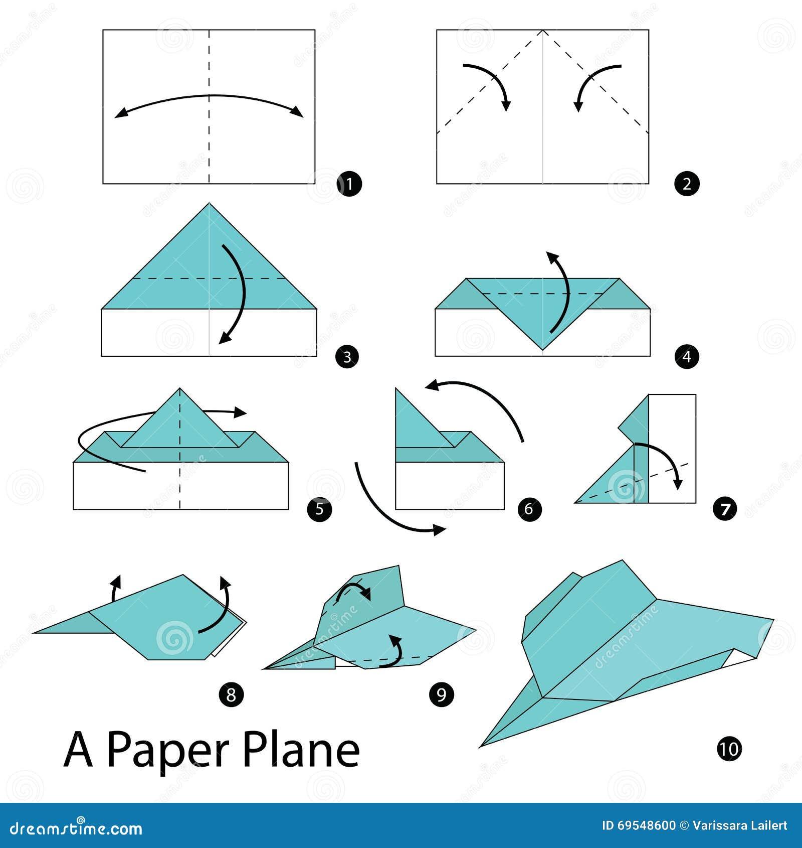 Instructions tape par tape comment faire origami un avion de papier illus - Comment faire l origami ...