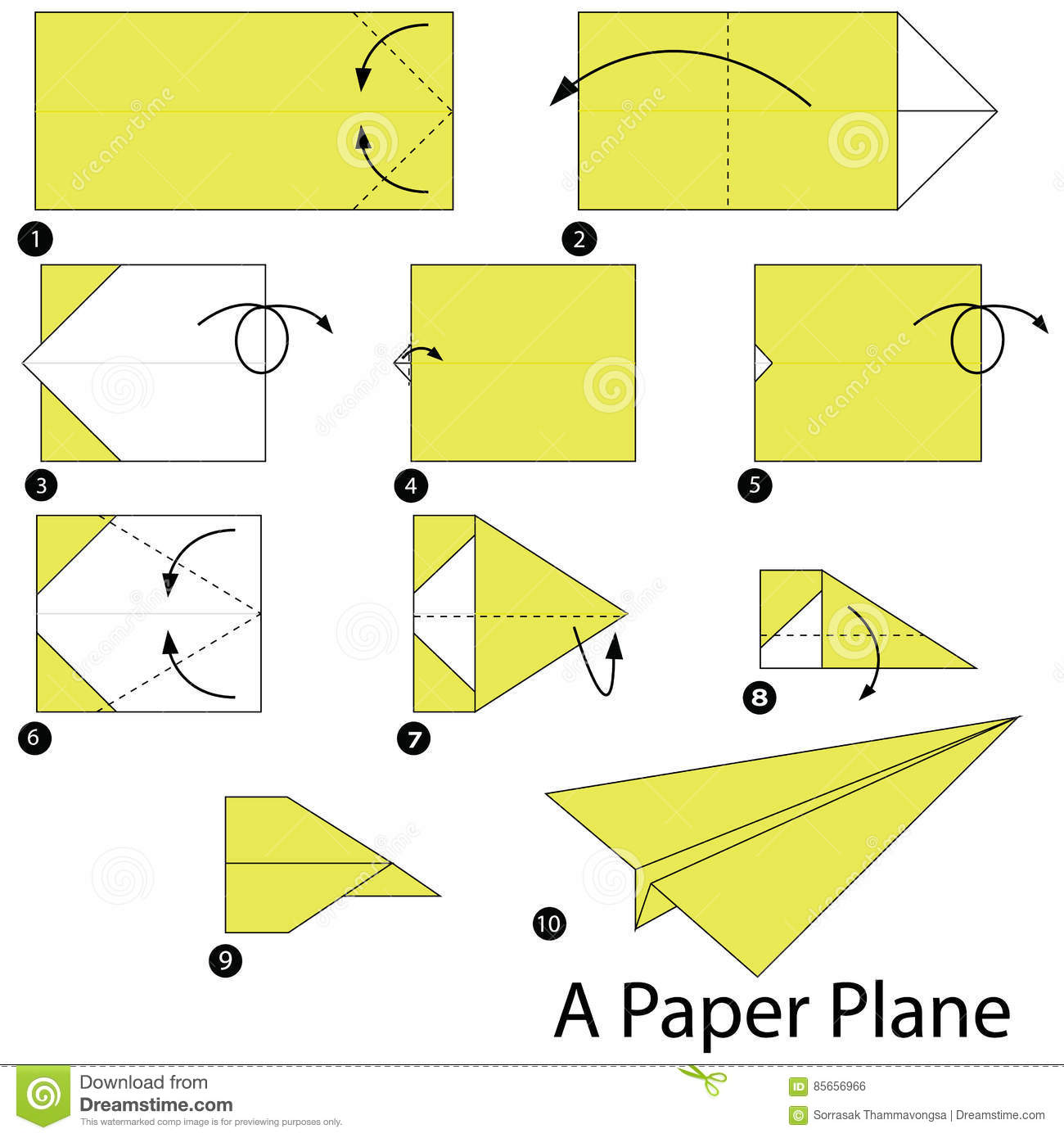 instructions tape par tape comment faire origami un avion de papier illustration de vecteur. Black Bedroom Furniture Sets. Home Design Ideas