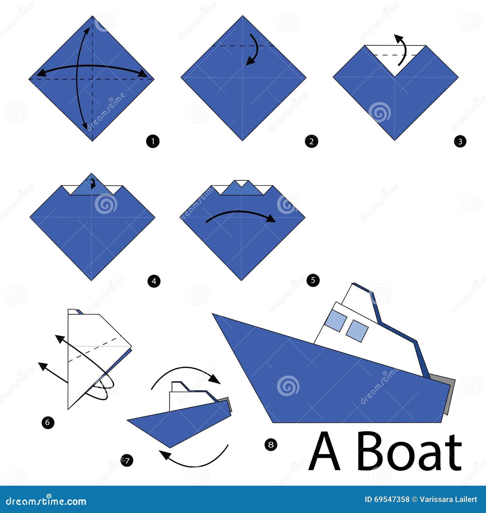 instructions tape par tape comment faire origami un bateau illustration de vecteur. Black Bedroom Furniture Sets. Home Design Ideas