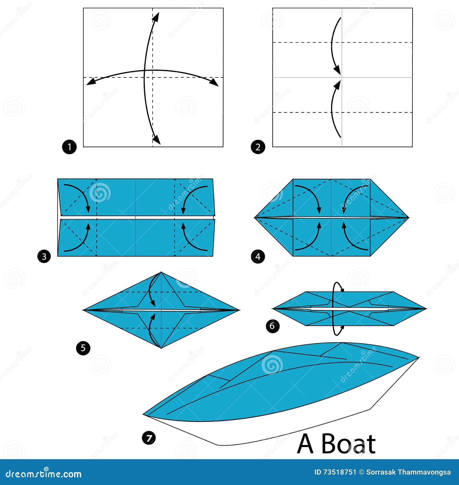 Instructions Etape Par Etape Comment Faire A Origami Un Bateau Illustration De Vecteur Illustration Du Etape Faire 73518751