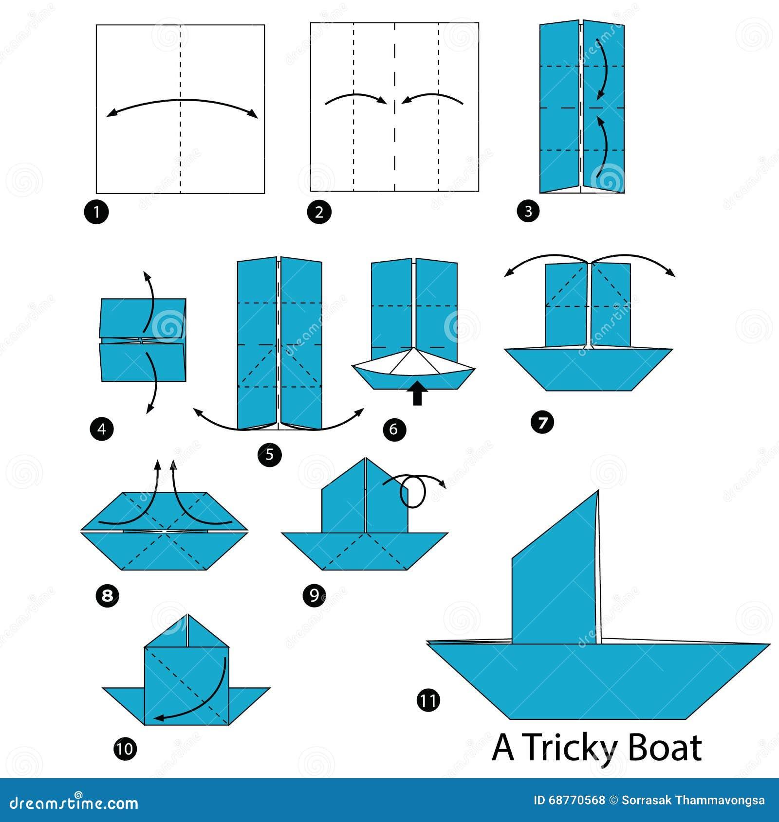 Instructions Etape Par Etape Comment Faire A Origami Un Bateau Delicat Illustration De Vecteur Illustration Du Faire Instructions 68770568