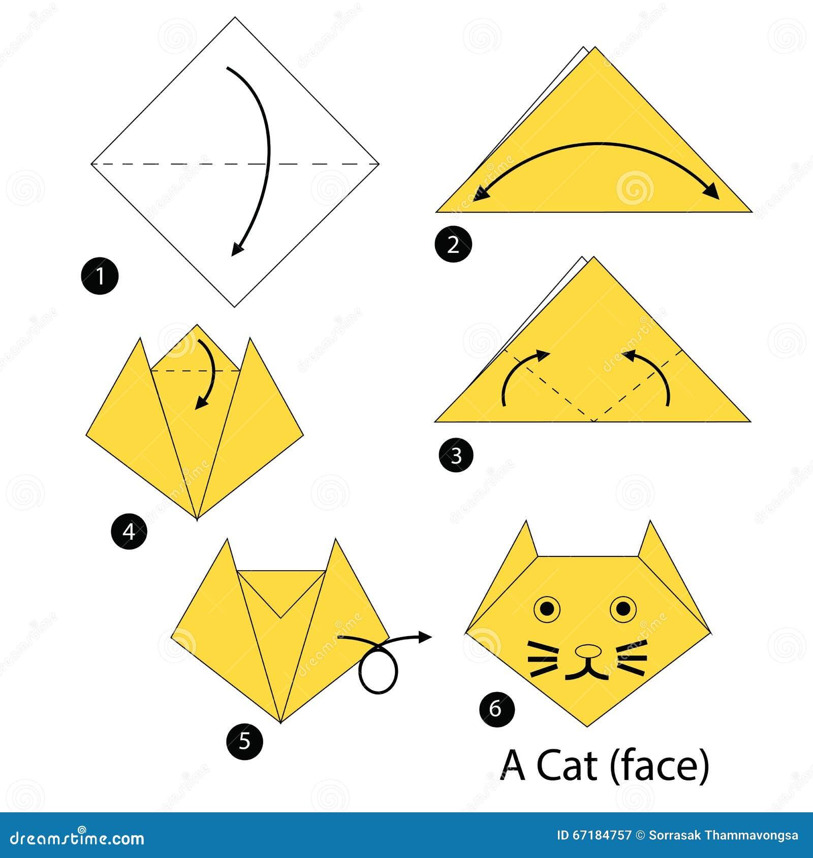 Instructions tape par tape comment faire origami un chat illustration de - Comment faire un origami ...