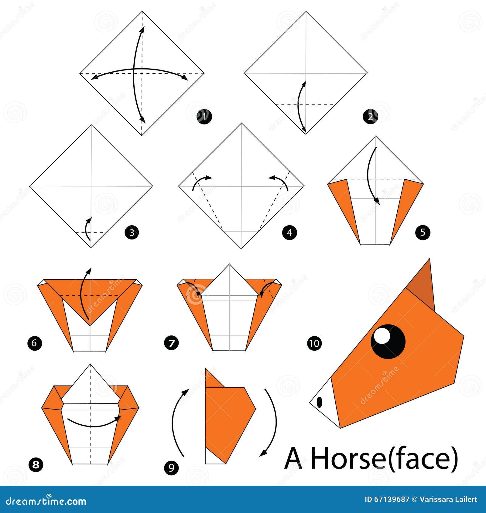 Instructions tape par tape comment faire origami un cheval illustration de vecteur image - Comment faire de l origami ...