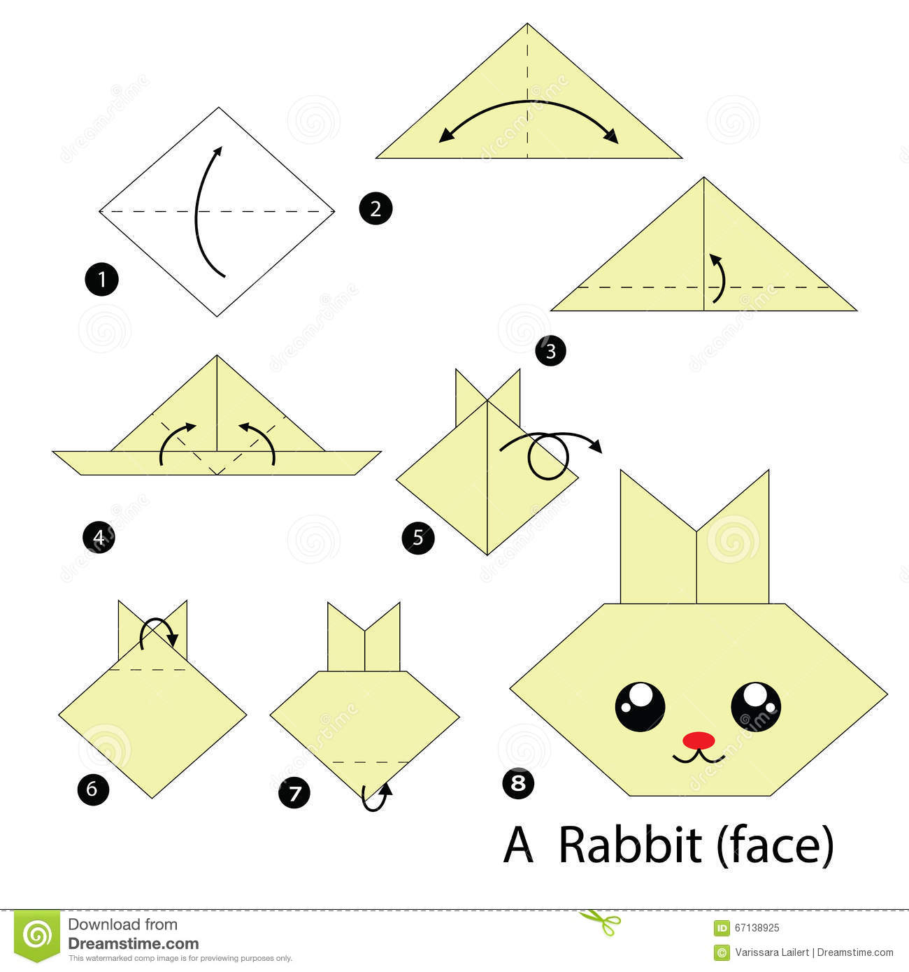 instructions tape par tape comment faire origami un lapin illustration de vecteur. Black Bedroom Furniture Sets. Home Design Ideas