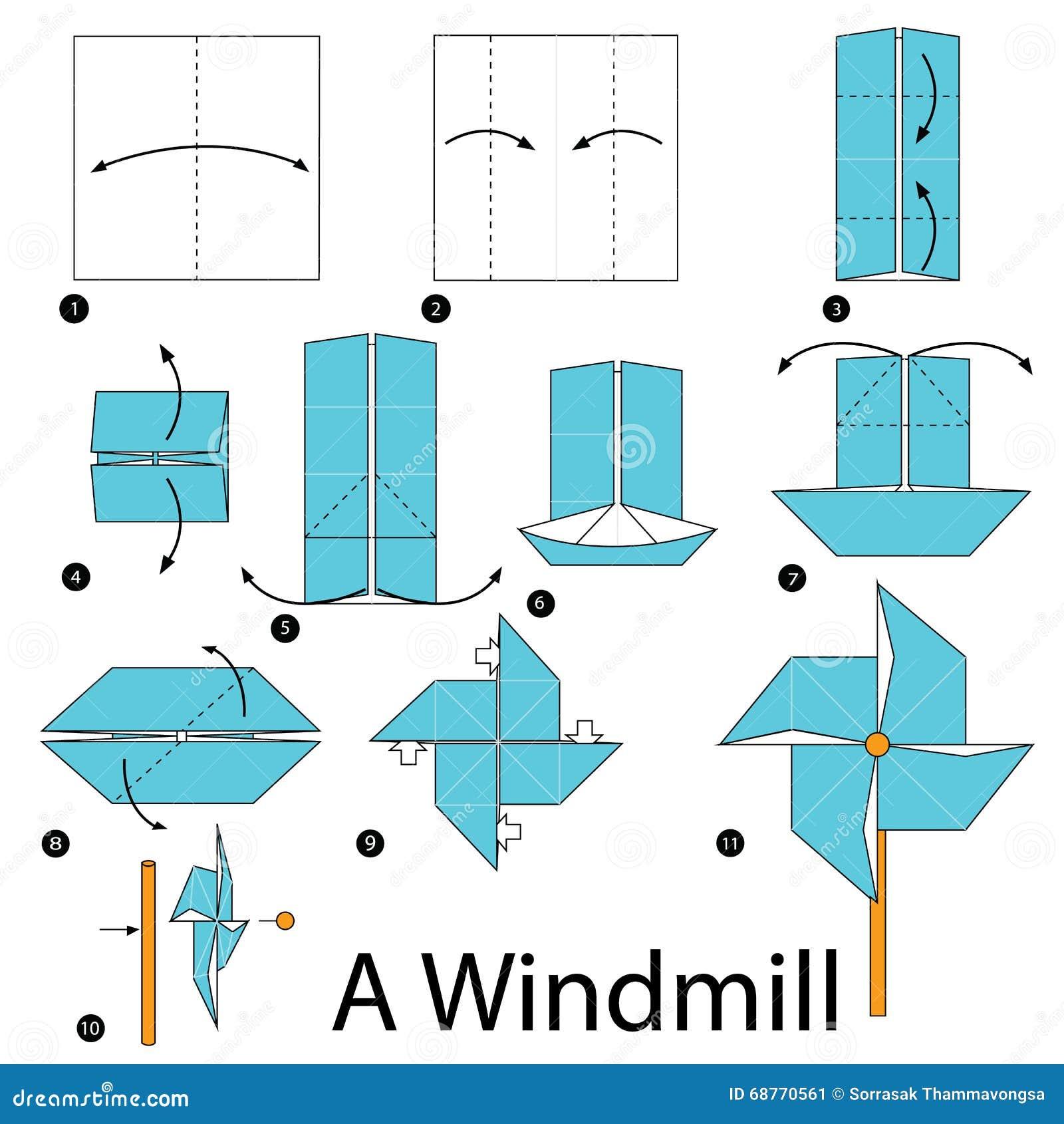 Instructions tape par tape comment faire origami un - Comment fabriquer un moulin a vent en papier ...