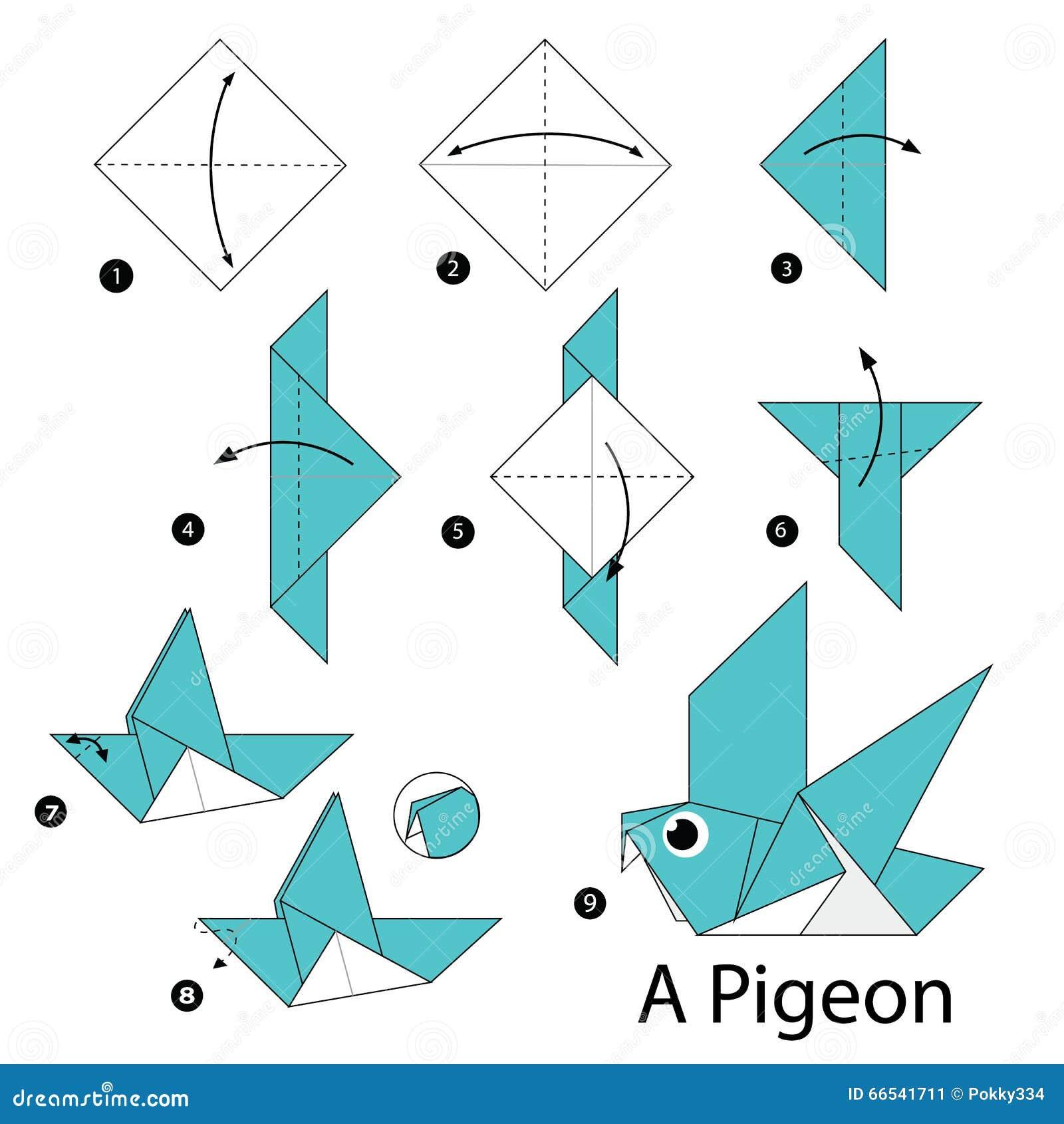 instructions tape par tape comment faire origami un oiseau illustration stock illustration. Black Bedroom Furniture Sets. Home Design Ideas