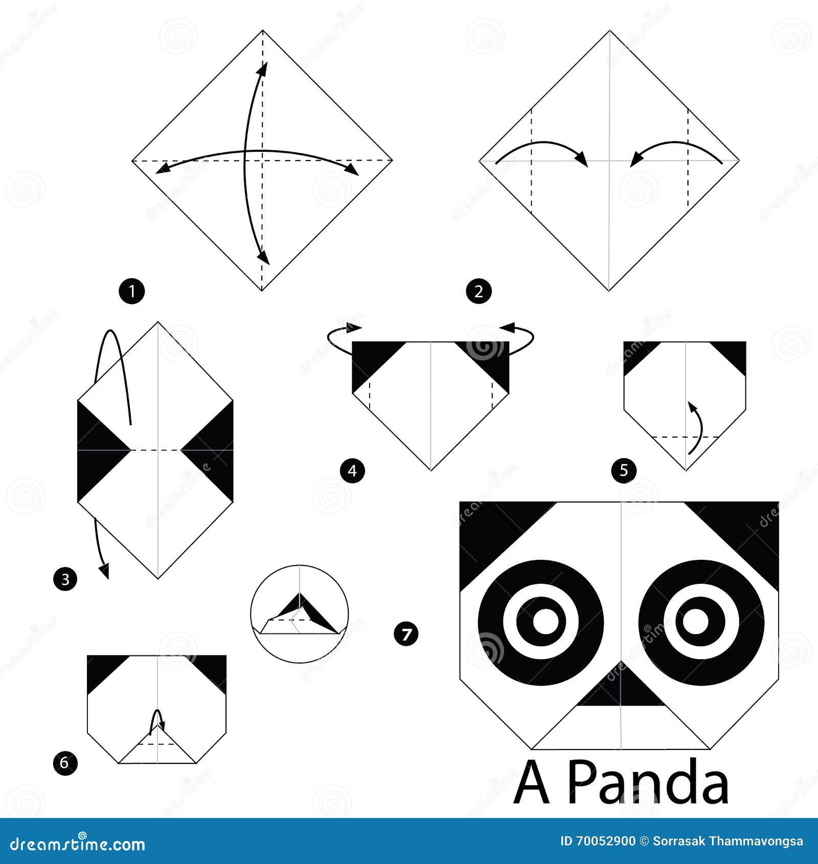 Instructions étape Par étape Comment Faire à Origami Un Panda