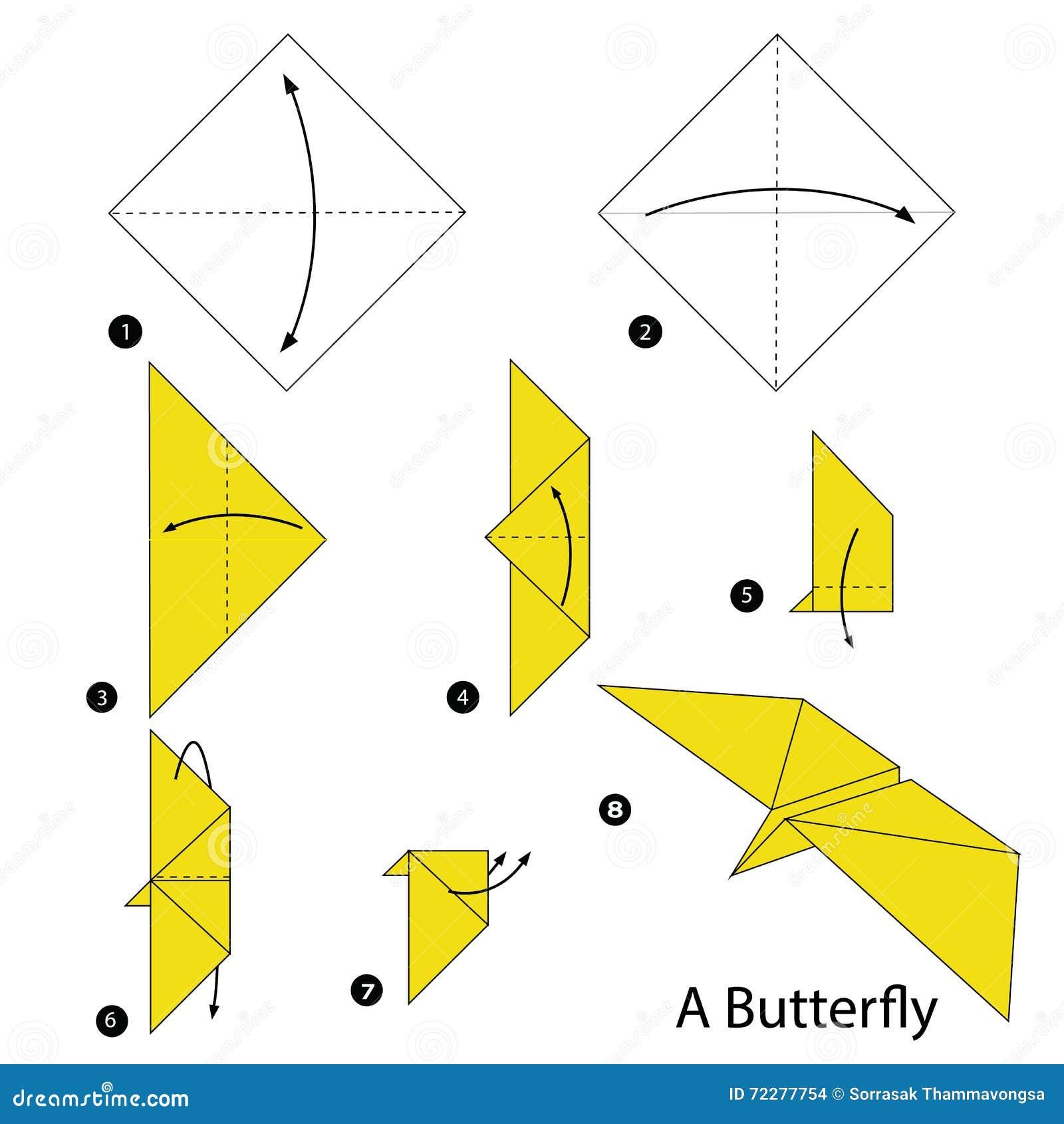 instructions tape par tape comment faire origami un papillon illustration de vecteur. Black Bedroom Furniture Sets. Home Design Ideas
