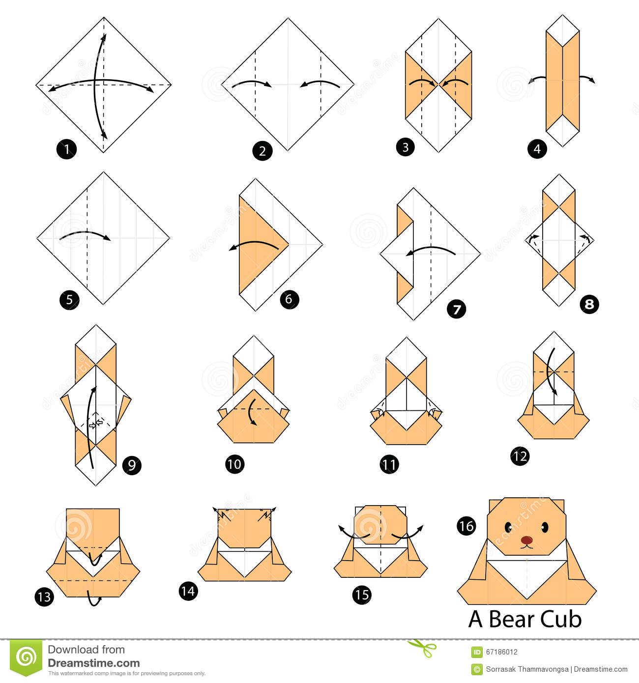 Instructions tape par tape comment faire origami un petit animal d 39 ou - Comment faire origami ...