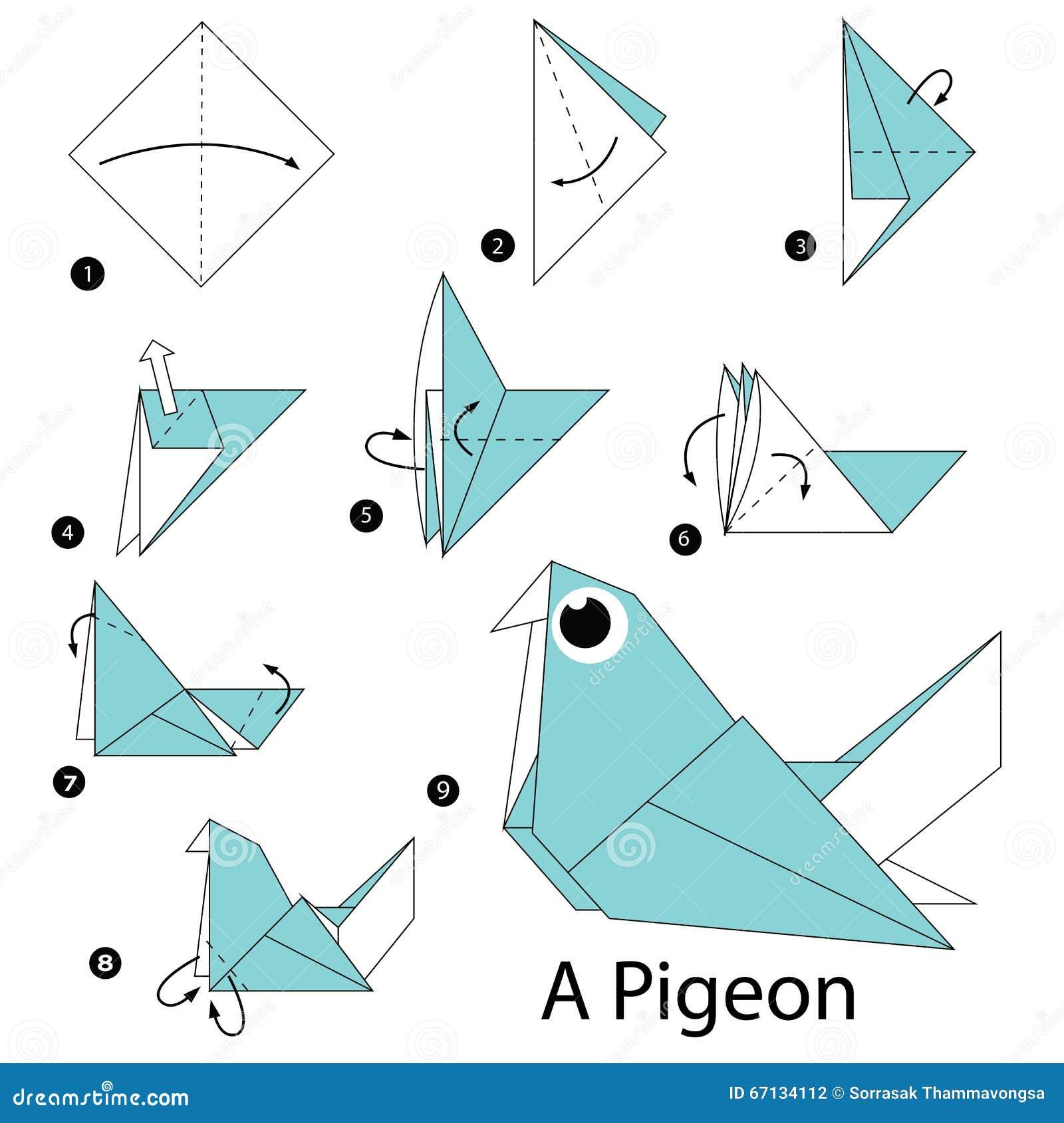 instructions tape par tape comment faire origami un pigeon illustration de vecteur image. Black Bedroom Furniture Sets. Home Design Ideas