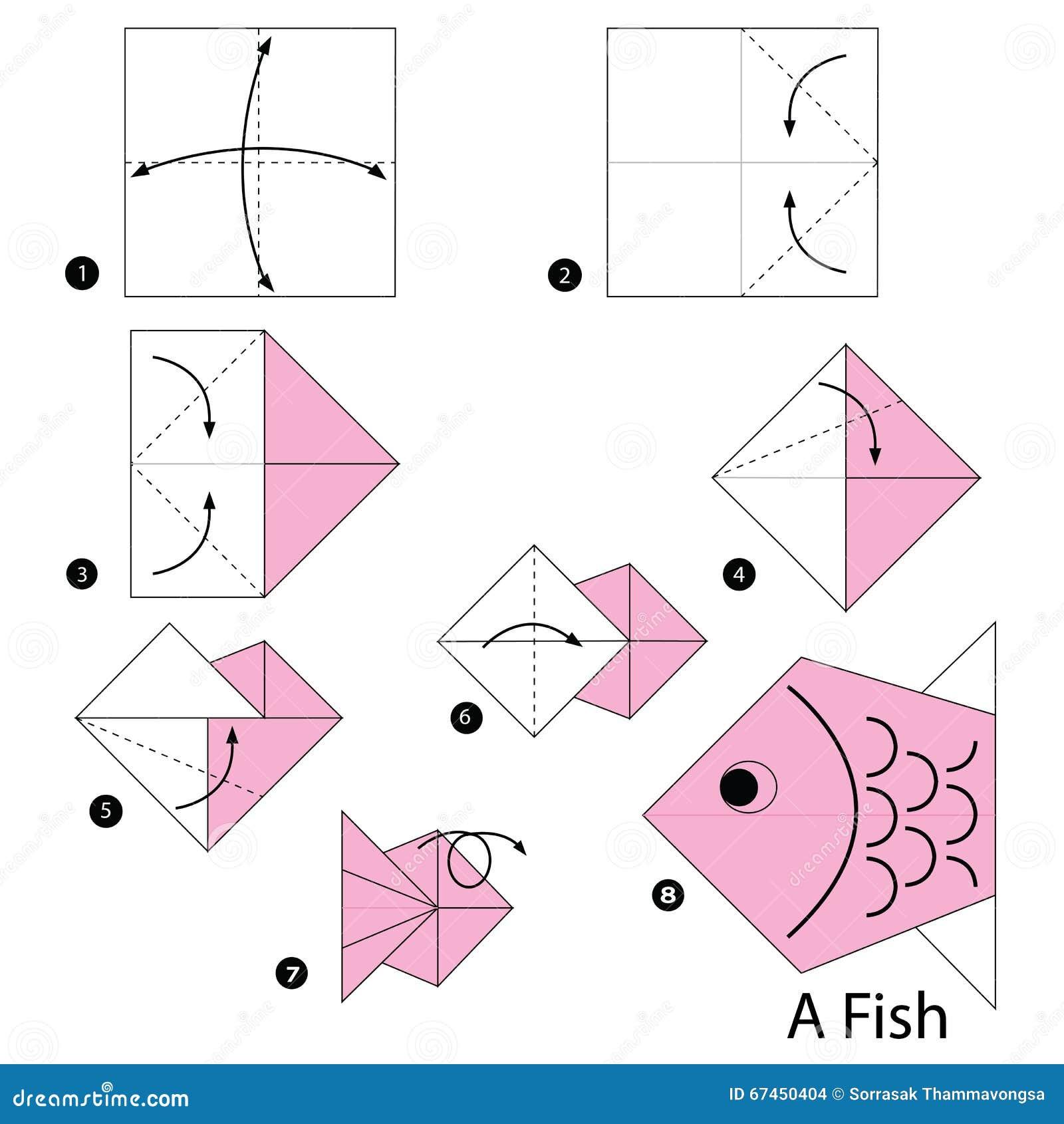 Instructions tape par tape comment faire origami un poisson illustration - Comment faire l origami ...