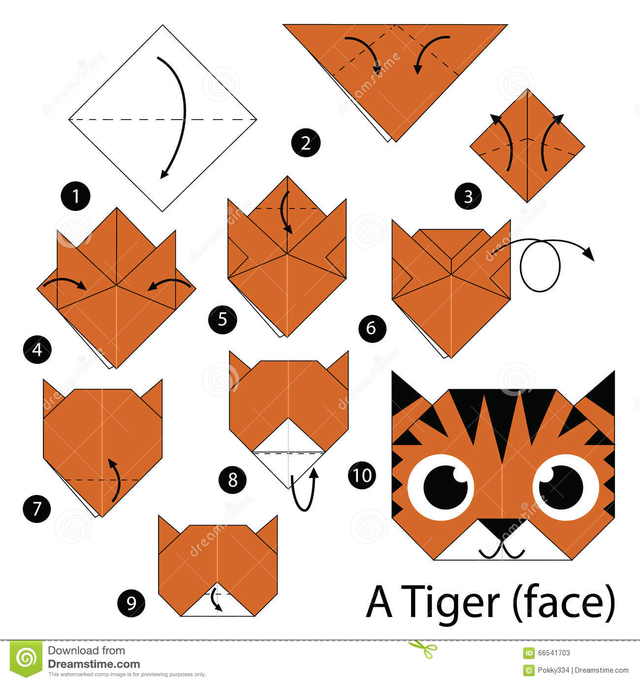 instructions tape par tape comment faire origami un tigre visage illustration stock. Black Bedroom Furniture Sets. Home Design Ideas