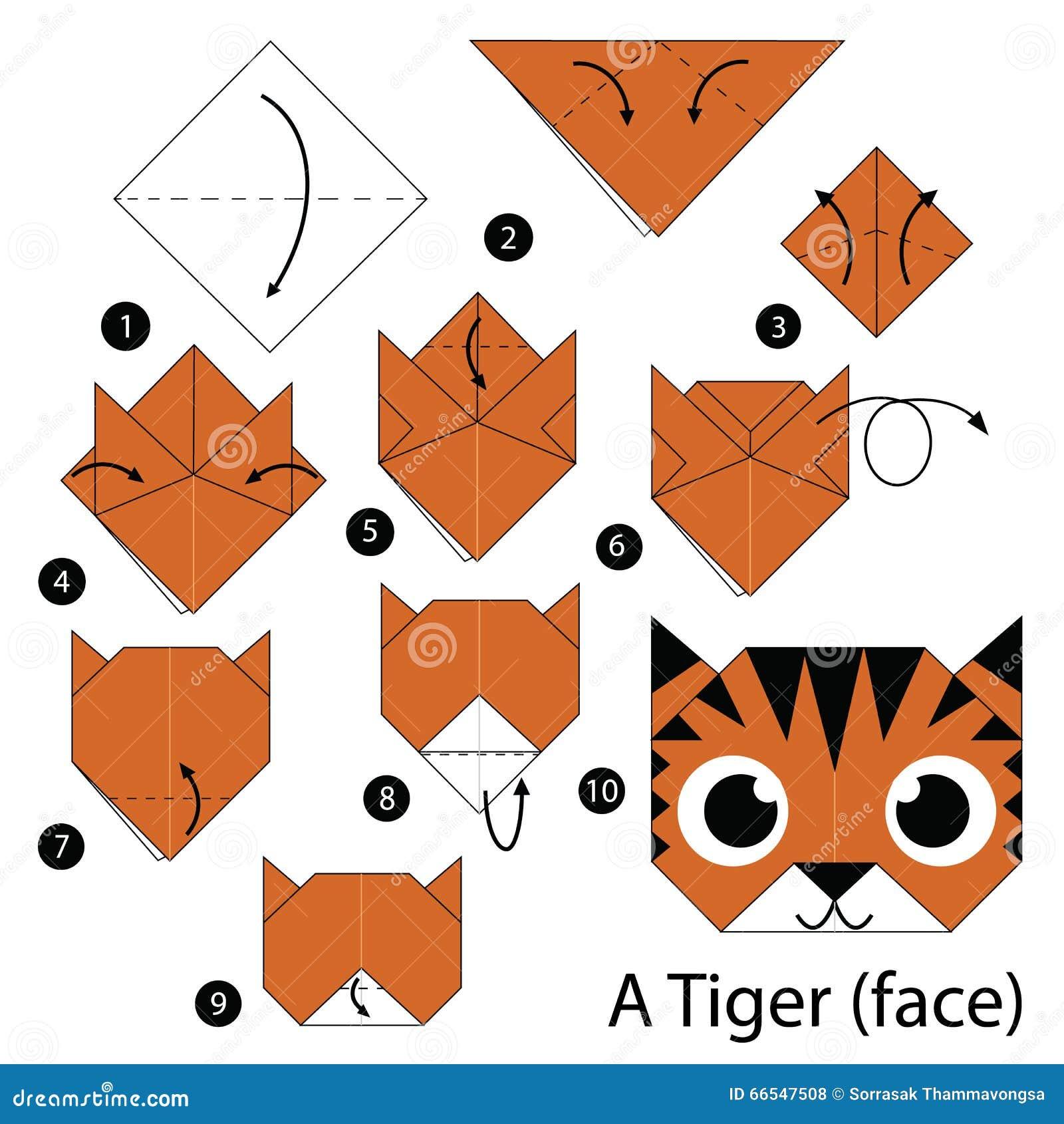 Instructions tape par tape comment faire origami un tigre visage illustration de vecteur - Origami facile a faire animaux ...